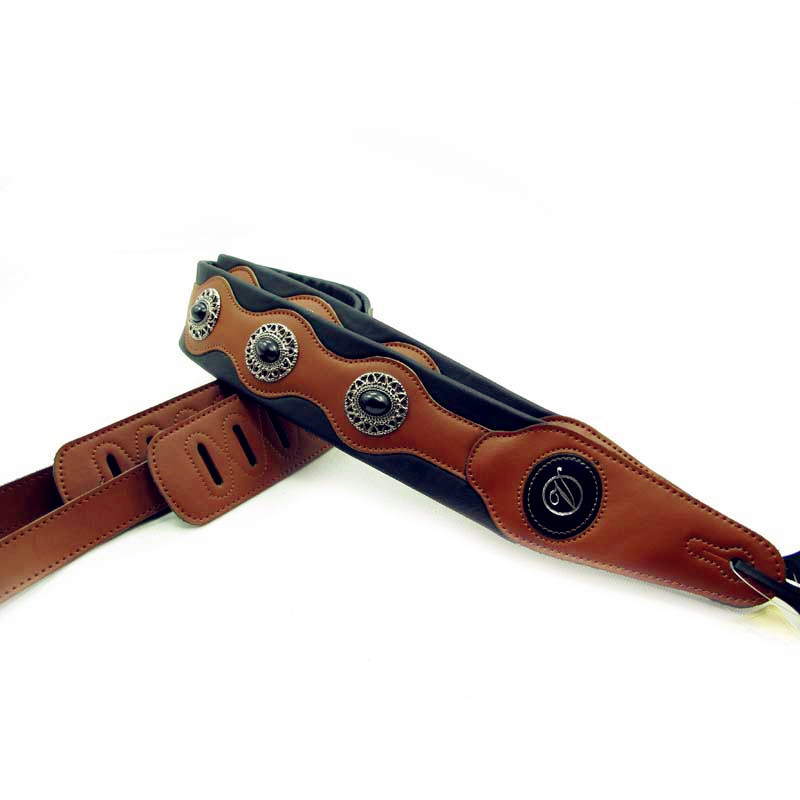 High-quality  Guitar Strap / Black Gem Electric Guitar / Electric Bass Guitar Strap Guitar Belt Width 6.5 Cm