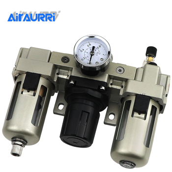AC3000-03 AC3000-03D G3/8'' Automatic Drain Type Air Source Treatment Unit Pneumatic Lubricator+Filter+Regulator цена 2017