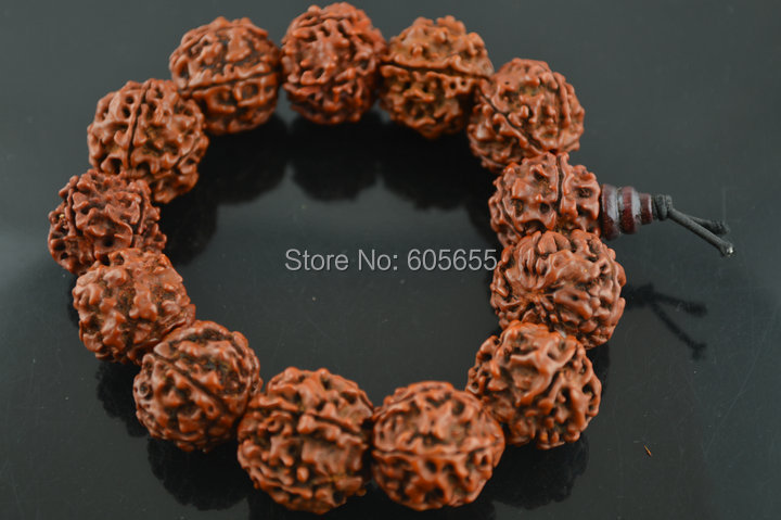 16~17mm Big Rudraksha Beads Mala Bracelets Prayer Man's Jewelry 5 pc per lot Free Shipping Polish Oil Plating 5