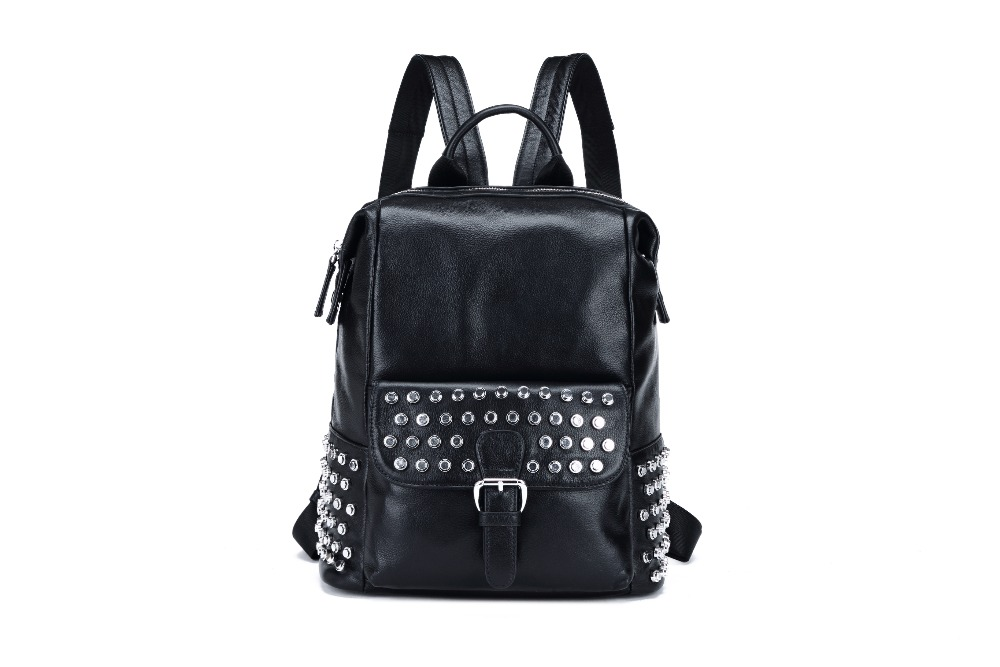 2017 women new vintage casual backpack Genuine Leather Rivet Designer Brand Travel school bag for teenage girl mochila feminina 2017 new fashion designer women backpack women travel bags vintage school shoulder bag motorcycle bag mochila feminina
