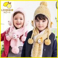 Children Warm Warm Thick Winter Suit Collar Knitting Children S Two Piece Baby Winter Cap