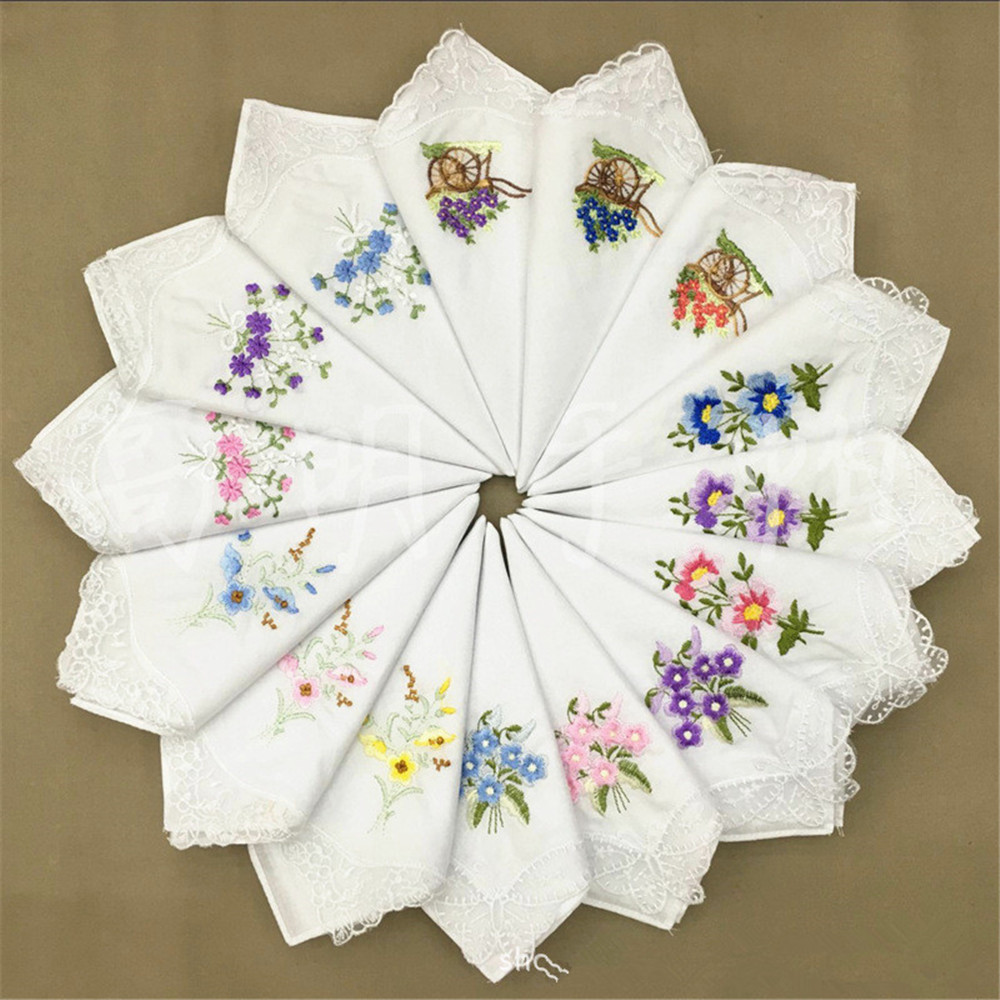 1pc Randomly Sent Cotton Square Handkerchief Sweat Towel Embroidery Flower Lace Corner