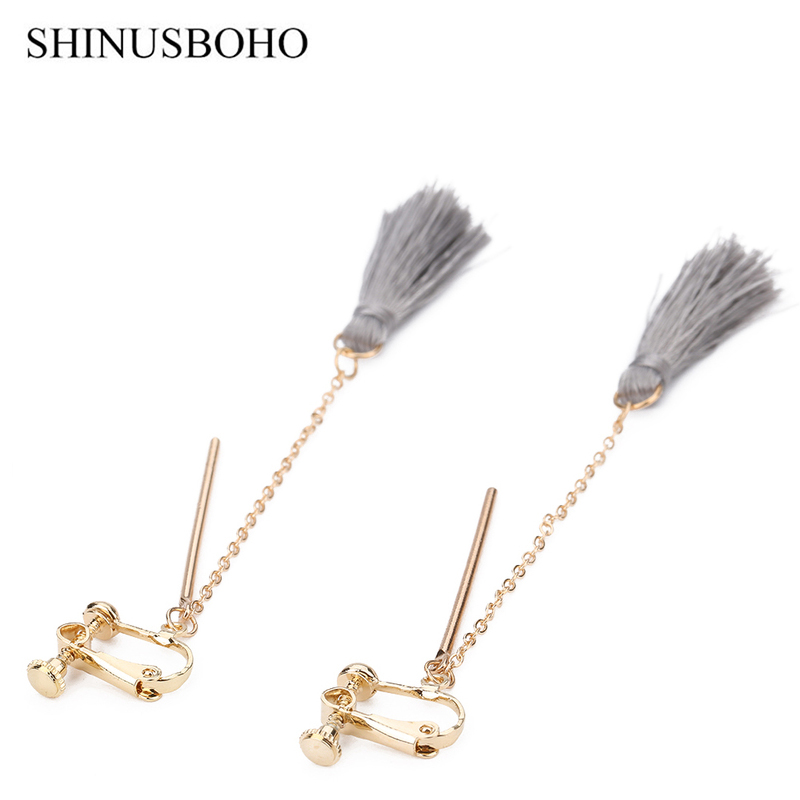 Simple Fashion Earrings Handmade DIY Gray Tassel Gold-color Chain Clip Earrings for Women Boho Jewelery Holiday Gifts