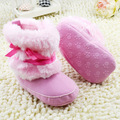 Baby Kids Bowknot Boots Toddler Fleece Boots Furry Baby Snow Crib Shoes