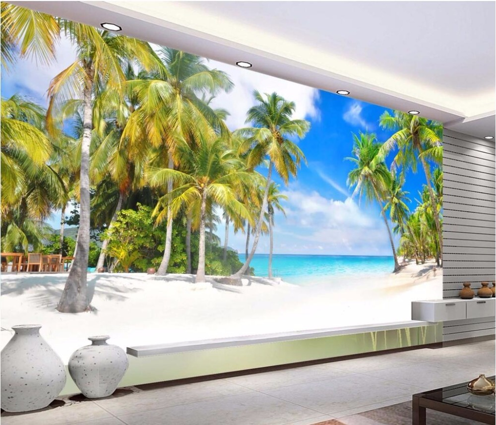 Custom mural 3d photo wallpaper picture coconut palm beach for Decorative mural painting