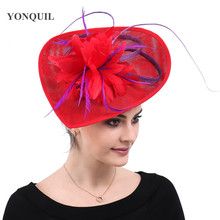 Элегантные женские красные Дерби kenducky кружевное головное украшение фиолетовые Перья аксессуары для волос шапки шляпки повязки на голову церковные головные уборы