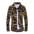 Новая Коллекция Весна Мужчины Повседневная Рубашки Моды С Длинным Рукавом Марка Отпечатано Пуговицах Формальное Рисунок В Горошек Цветочные Мужчины Платье рубашка M-5XL