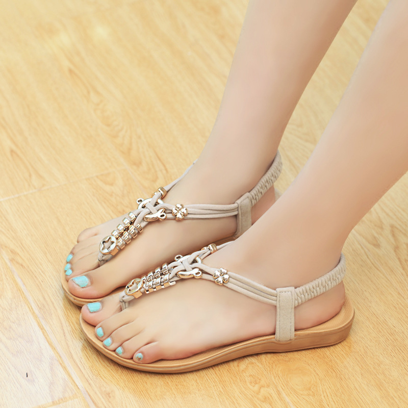 a996190b2 Free Shipping Woman Hamstring Word Strappy Metallic Sandals Sandals Female  Student With Flat Thong Sandals Girl-in Women s Sandals from Shoes on ...