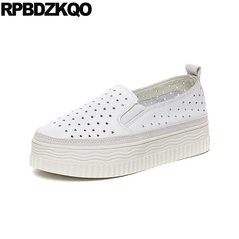 elevator muffin white luxury thick sole women harajuku genuine leather star hollow out breathable flats creepers platform shoes women creepers shoes 2015 summer breathable white gauze hollow platform shoes women fashion sandals x525 50
