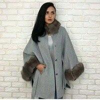 Autumn and winter new fox fur collar fox fur cuffs double sided wool shawl long coat female bat sleeve jacket