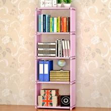 Simple Five Shelf Bookcase Non Woven Steel Free Standing Bookshelf Living Room