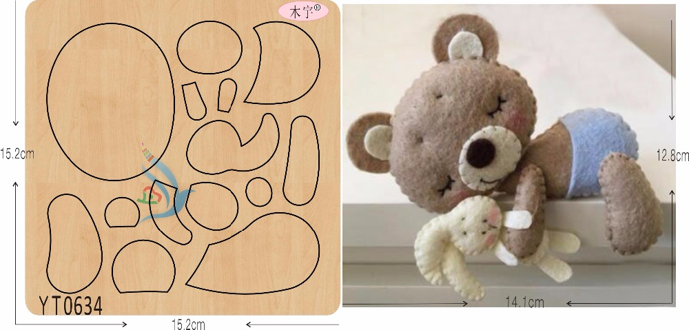 Baby Bear and Rabbit DIY new wooden mould cutting dies for scrapbooking Thickness 15 8mm YT0634