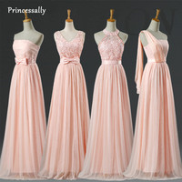 Blush Bridesmaid Dresses Floor Length Halter Lace Pale Pink Bridesmaid Dresses Prom Cheap Under 30 Free