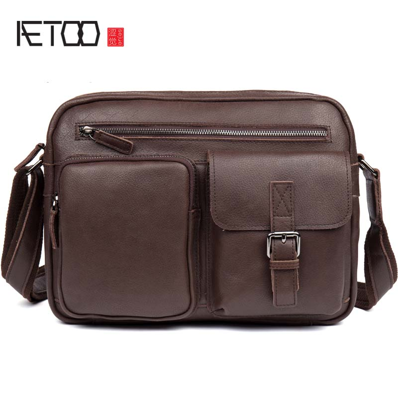 AETOO Oiled leather leather retro men's 8 inch summer travel shoulder diagonal package mini flap men bag aetoo oil wax leather leather europe and america retro men s 8 inch summer travel simple shoulder diagonal package