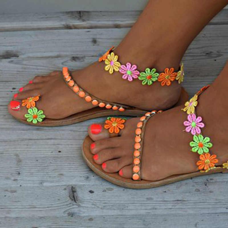 2020 Mới Bohemia Giày Sandal Nữ Đế Bằng Hoa Nhiều Màu Dép Dép Nữ Mùa Hè Giày Plus Size 35-43 WSH3326