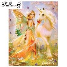 FULLCANG diy deimantiniai siuvinėjimo angelų mergelės ir vienaragis deimantų dažymas kryžius dygsnio kvadratinės mozaikos 5d rankdarbiai G017