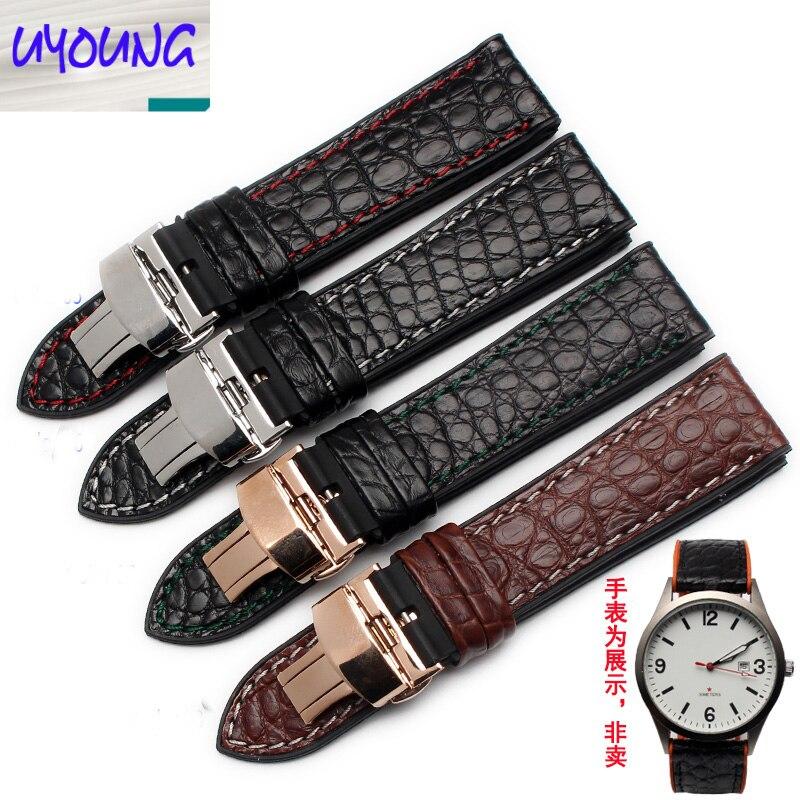 UYONG cuir Crocodile + silicone bas étanche montre ceinture 18 20 22 23 24mm correa reloj cuero otan bracelet 22mm