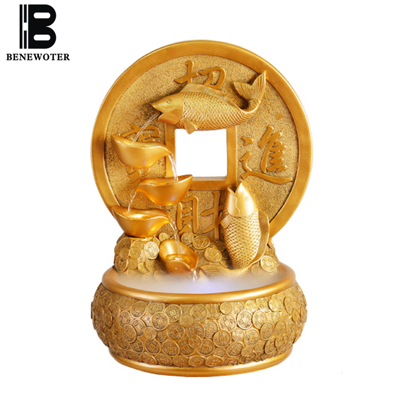 110/220V Natural Resin Goldfish Crystal Ball Water Fountain Home Zhao Cai Ingots Waterscape Decoration Crafts for Birthday Gifts