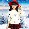 2016 Nuevos niños Suéter Grueso moda nieve de navidad de impresión adolescentes Ropa Jumper Primavera Otoño Traje de Los Niños