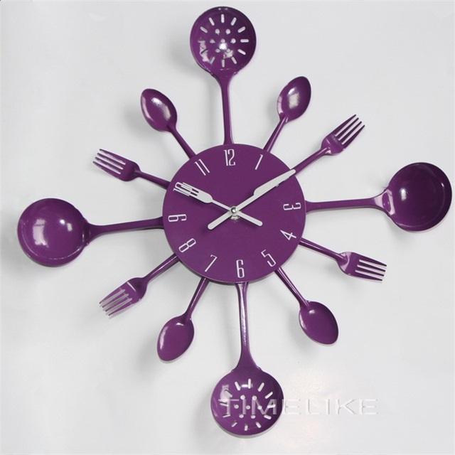 2017 Fashion Style Metal Kitchen Cutlery Utensil Wall Clock Spoon Fork Ladel Home Decoration Art Watch