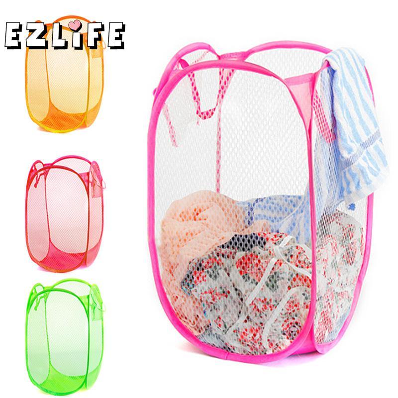 Us 3 11 9 Off Nylon Mesh Fabric Foldable Large Laundry Basket Household Dirty Clothes Bag Washing Child Toy Storage Organization Af0001 In