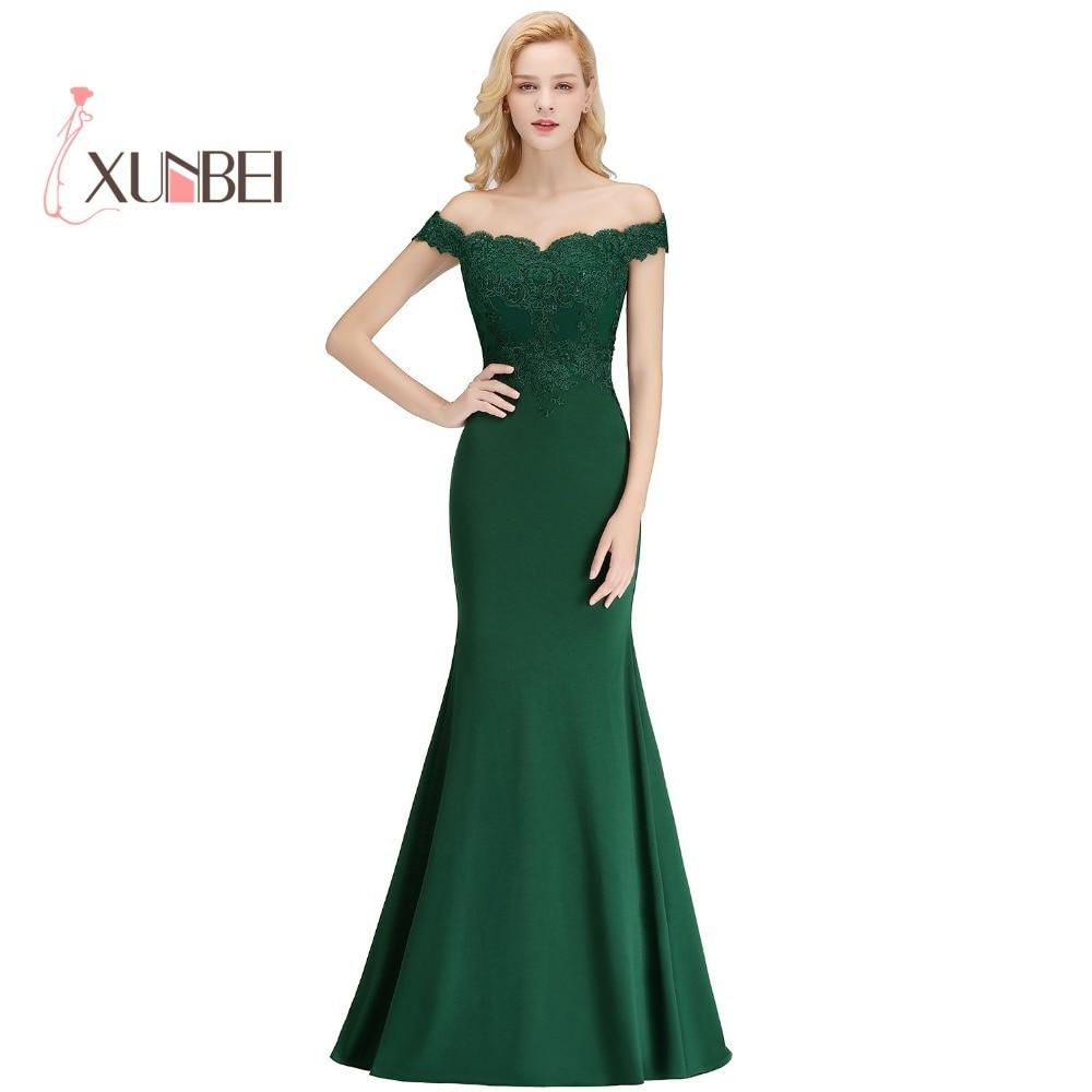Robe Demoiselle D'honneur Customized Green Lace Bridemaid Dresses 2019 Off Shoulder Appliqued Prom Dresses Wedding Party Gowns