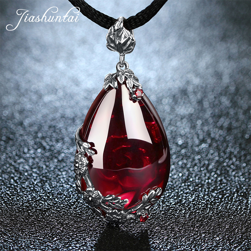 JIASHUNTAI Retro 100% 925 Silver Sterling Royal Natural Red Garnet Chalcedony Agate Gemstone Pendant Necklace Jewelry For Women