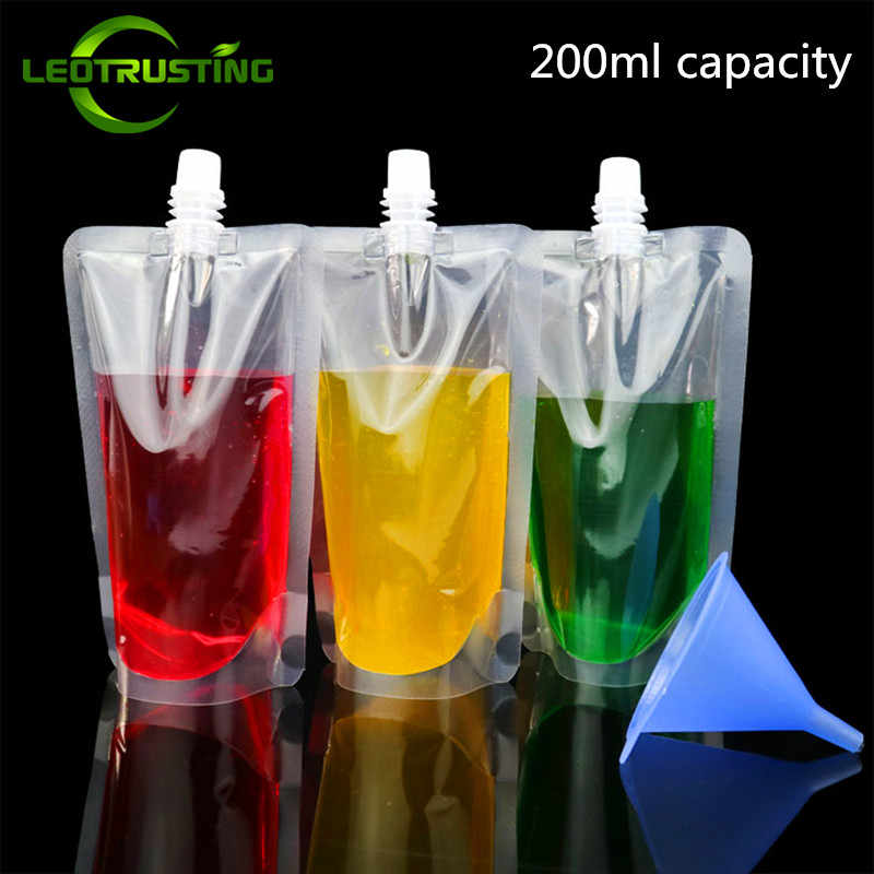 Leotrusting 50pcs 200ml Stand up Plastic Drink Packaging Bag Spout Pouch for Beverage Juice Milk Wedding Party Drinking Pouches