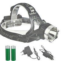 1800Lm T6 LED Head Lamp Light Rechargeable 18650 Torch Lights 2 X 3 7v 18650 Battery