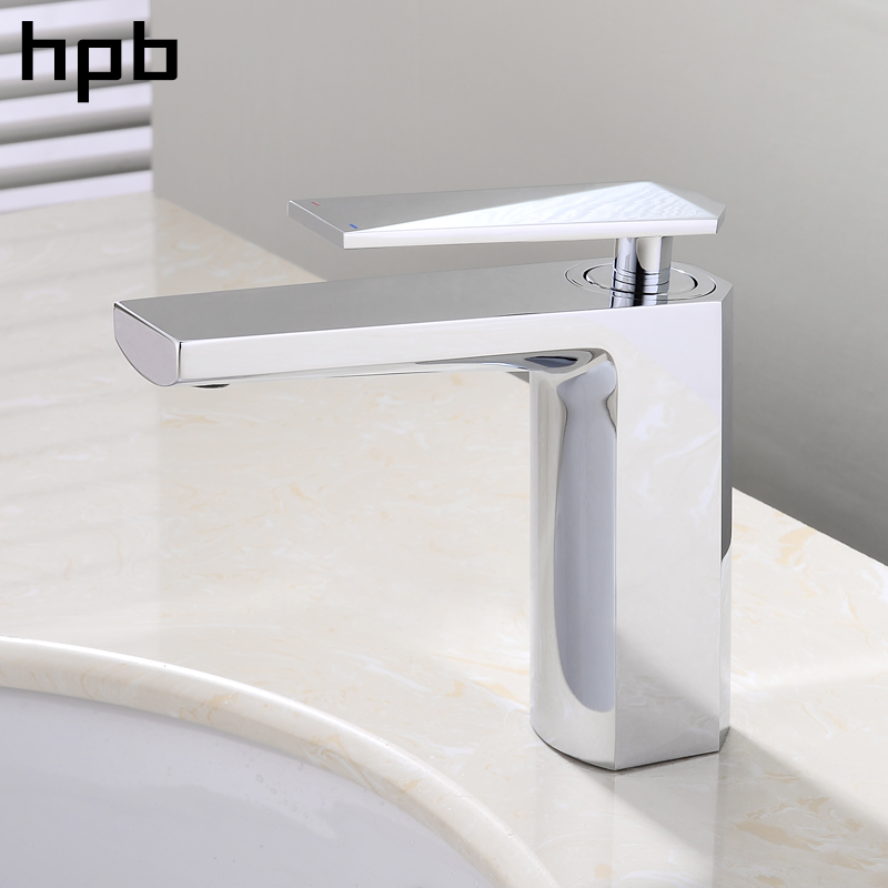 HPB Polished Chrome Bathroom Basin Faucet Single Handle Sink Mixer Tap Square Style Hot And Cold Water Torneira hpb square brass basin faucet hot and cold water single hole handle sink bathroom faucets mixer tap grifos para lavabos hp3037