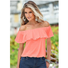 2016 Fashion Europe Elegant Shoulder Ruffles Slash Neck Solid Colored Body Butterfly Sleeve Women Blouses Tops Off Shoulder