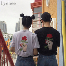 Lychee Harajuku Vintage Korean Style Summer Women T Shirt Embroidery Flower Rose Hand Short Sleeve Tee