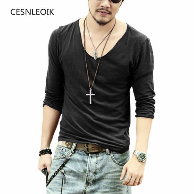 Men T Shirt Men Casual Leisure Fashion Long Sleeve Cotton Shirt Shirts V-Neck High Quality More Color Size S M L XL XXL Q017
