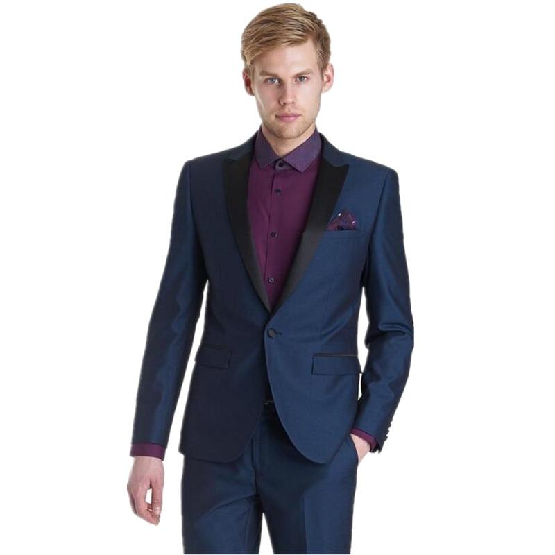 New Men's Suits, Fashion Men Suits  Navy Blue Slim Fit Mens Suits One Button Grooms Suits  (Jacket+Pants)
