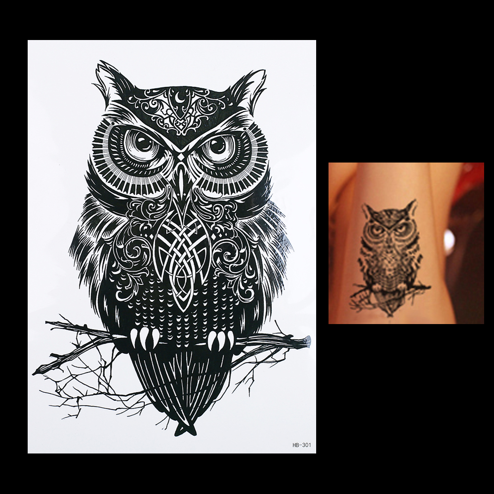 1pc Waterproof Temporary Tattoo Sticker Black Owl Branch Bird HB301 Sexy Women Men Body Art Tattoo Sticker Decal Products Design