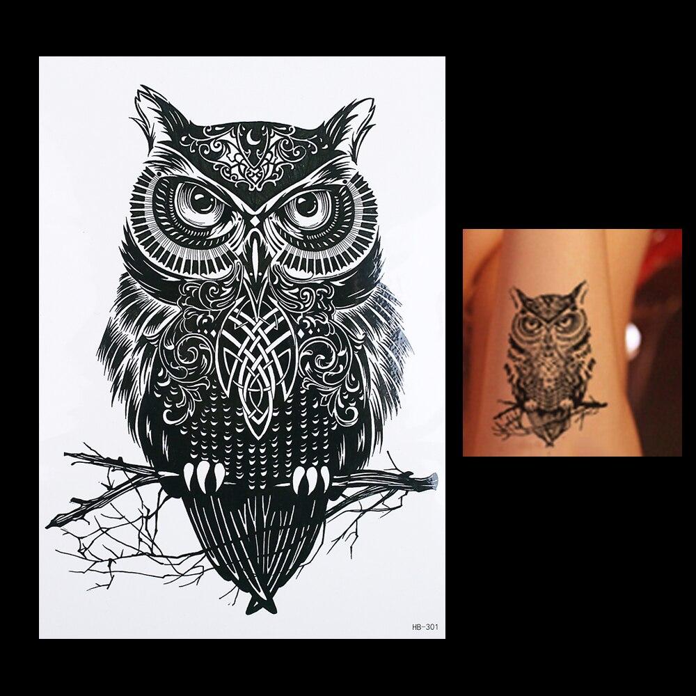 1pc Waterproof Temporary Tattoo Sticker Black Owl Branch Bird HB301 Sexy Women Men Body Art Tattoo Sticker Decal Products Design