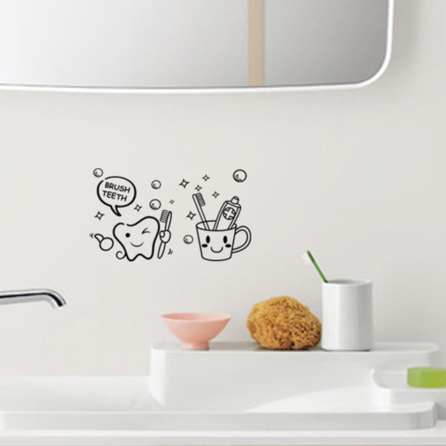Teeth brush wall stickers cartoon kids bedroom kitchen for Kitchen cabinets lowes with wall sticker art for kids