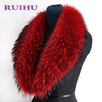 RUIHU 80 90 100cm 100 Real Natural Raccoon Fur Collar Winter Thick Long Neck For Down