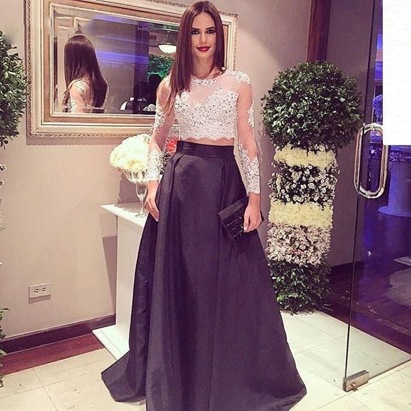 c922028508d Online Shop Beautiful Sheer Beaded Lace Two Piece Prom Dress Long Sleeve  White Black Satin Prom Dress Women Prom Gowns Best Party Dress RT83