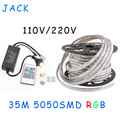 sale 35M 110V/220V High Voltage SMD 5050 RGB Led Strips Lights Waterproof + IR Remote Control + Power Supply