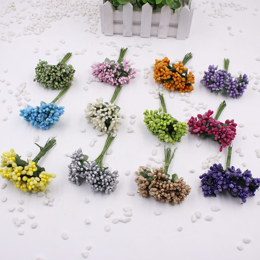 12 pcs / lot Artificial Flower Stamen Wire Stem marriage leaves stamen DIY garland wedding decoration box