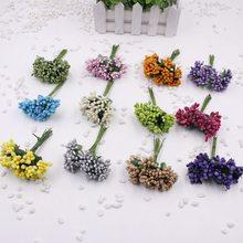 12 pcs / lot Artificial Flower Stamen Wire Stem marriage leaves stamen DIY garland wedding decoration box