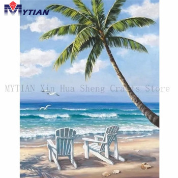MYTIAN 5D DIY Diamond Painting,Beach Chairs,Summer,Palm Trees,Beach,Ocean,Mosaic Diamond Embroidery Handmade Craft Home Decor