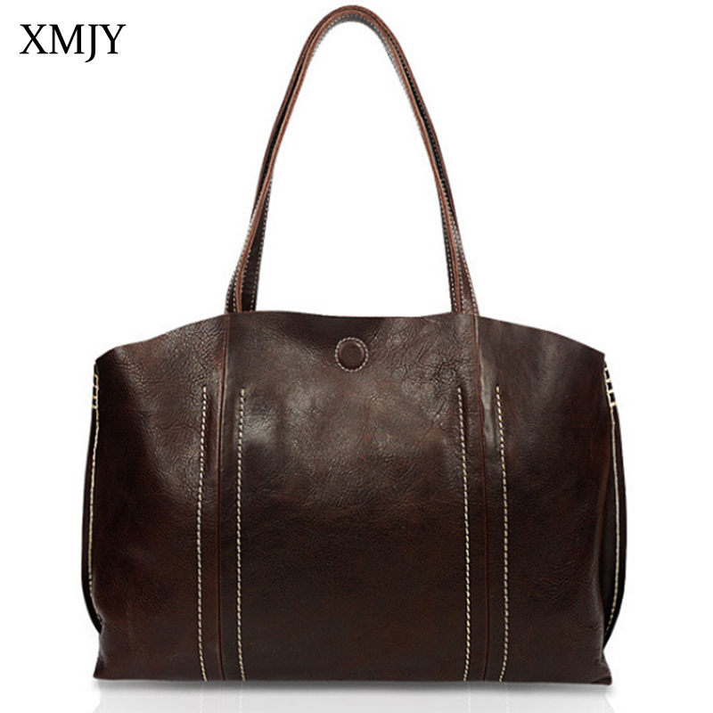XMJY Genuine Leather Women Handbags Totes Vintage Messenger Bags Cowhide Ladies Shoulder Bag Large Capacity Casual Shopping Tote 2017 luxury brand women handbag oil wax leather vintage casual tote large capacity shoulder bag big ladies messenger bag bolsa