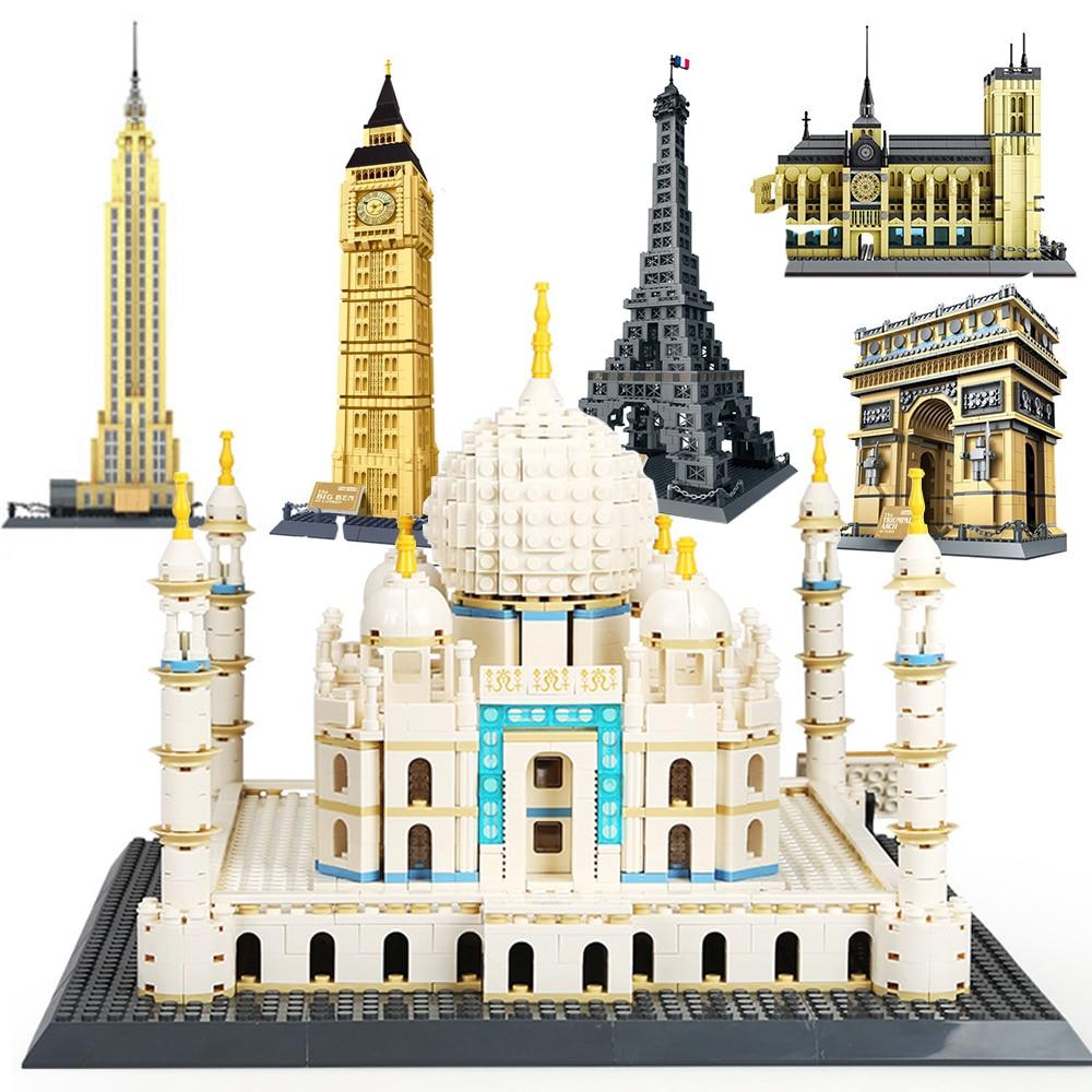 세계 위대한 건축 대형 wange 빌딩 블록 세트 도시 런던 장식 파리 뉴욕 장난감 벽돌 호환 legoed taj mahal-에서블록부터 완구 & 취미 의  그룹 1