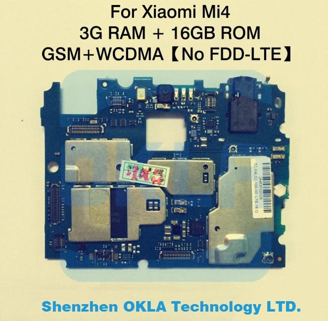 imágenes para 1 unids WCDMA 3G RAM 16 GB ROM Mainboard Para Xiaomi mi 4 M4 MI4 4G Placa Base Es compatible con la Sustitución de La Placa Lógica FDD-LTE