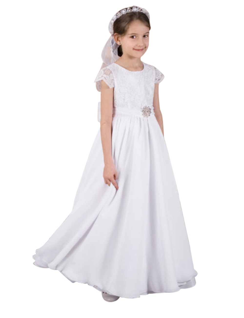 New Short Sleeve Flower Girl Dresses for Weddings Party Chiffon Holy First Communion Dresses Bow Princess A-Line Pageant Gowns