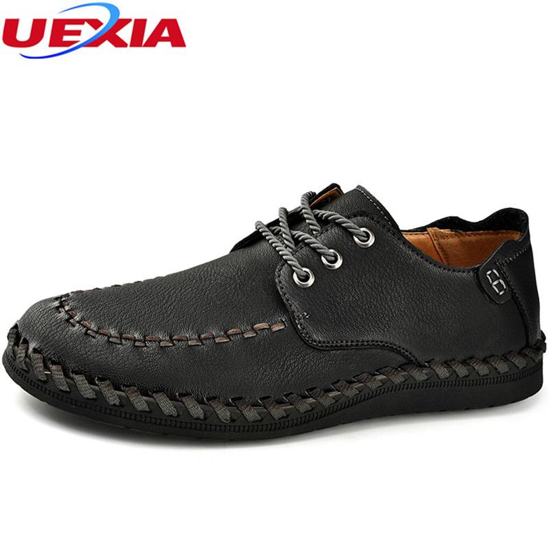 UEXIA Mens Shoe Black Hand-sewn Leather Business Slip On Formal Oxford Dress Elevator Shoes For Men Breathable Casual Moccasins