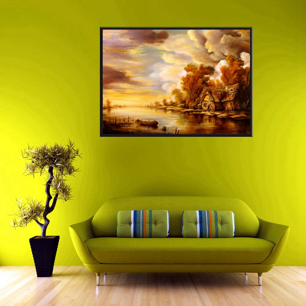 Wall Art 1pc Hut Yellow Dusk Oil Painting Boat in the Lake ...