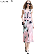 Summer Long Thin Sweater Vest Dress sexy womens over knee style knit Stretch Womens Color bright dress